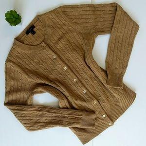 J. Crew Camel Cambridge Cable Cardigan Sweater S